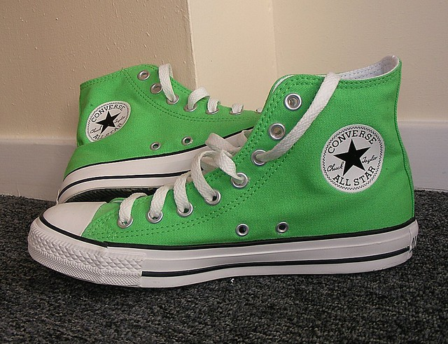 converse all star white green