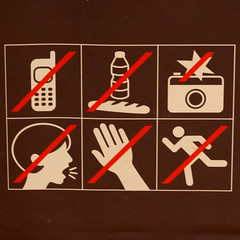 No, No, No, No, No, No (Leo Reynolds) Tags: sign mobile museum canon eos iso3200 phone telephone noflash 7d f80 peril signsafety signno 44mm hpexif 0033sec groupperil xleol30x