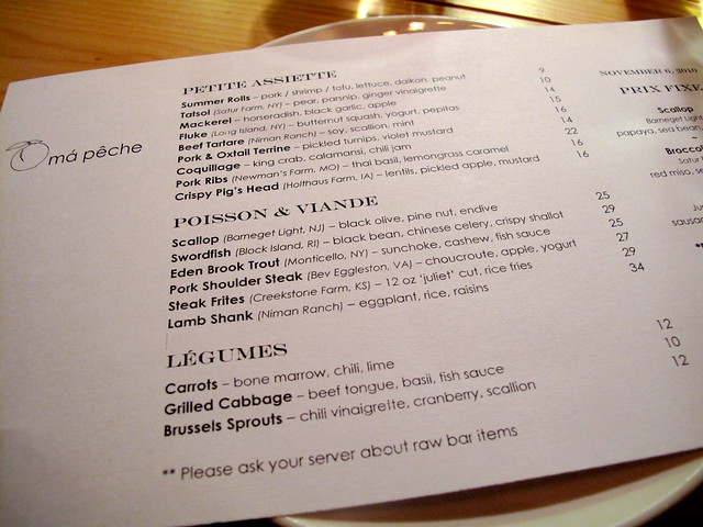 Ma Peche menu