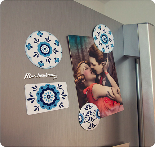 magnesy na lodówkę, porcelanowy wzór, DIY,