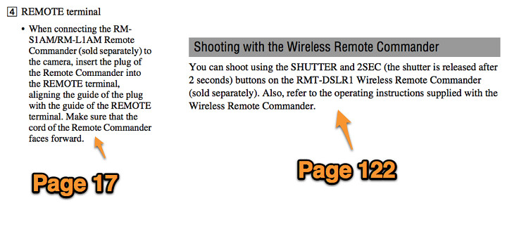 Wired and wireless remote shutter release instructions in the Sony A580 Manual