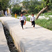 Children run along new roads