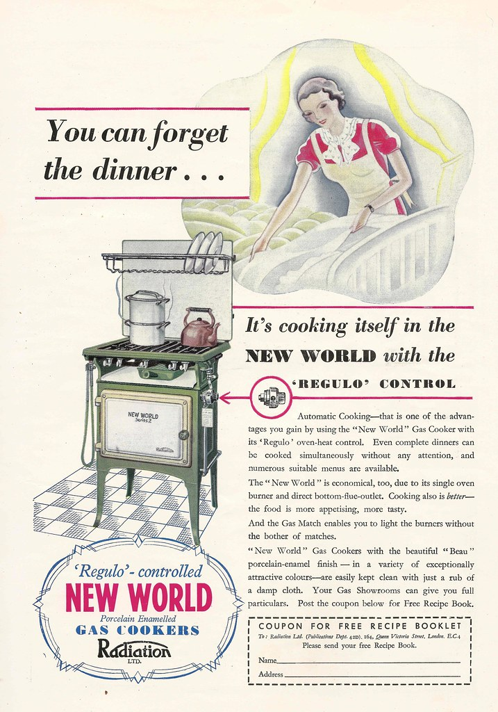 """Regulo controlled gas cookers"" - advert issued by Radiation"