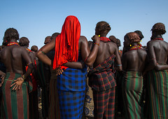 Women during the proud ox ceremony in Dassanech tribe, Omo valley, Omorate, Ethiopia (Eric Lafforgue) Tags: abyssinia adultsonly africa african backs blackskin celebration ceremony clothing daasanach dassanach dassanech day developingcountry eastafrica ethiopia ethiopia0617163 ethiopian ethiopianethnicity ethnic ethnicgroup female feminine geleb groupofpeople horizontal hornofafrica indigenousculture initiationceremony necklaces omovalley omorate omotic outdoors rearview shirtless southernethiopia traditional tribal tribe tribeswomen truepeople womenonly