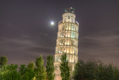 Leaning Tower of...Niles - Just Outside Chicago (Mister Joe) Tags: italy usa chicago night america illinois il pisa replica roadside ymca leaning hdr 1934 niles leaningtowerofpisa touhy towerymca
