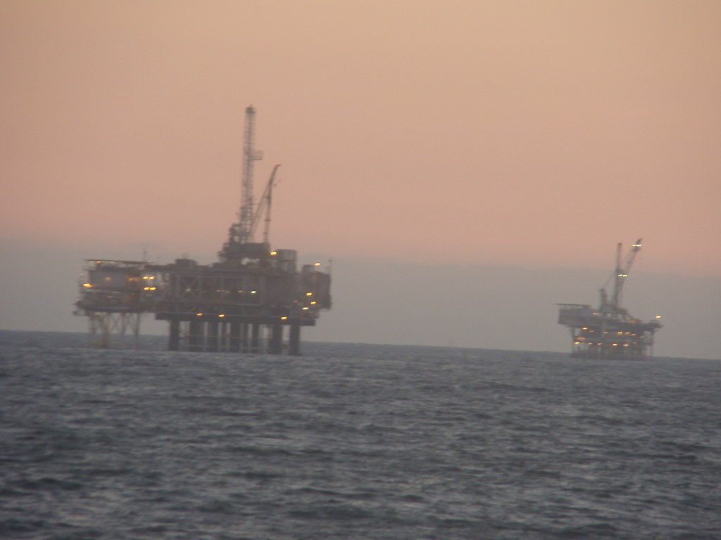 Oil Rigs off coast of Huntington Beach, CA