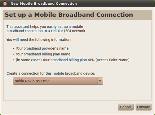 New Mobile Broadband Connection