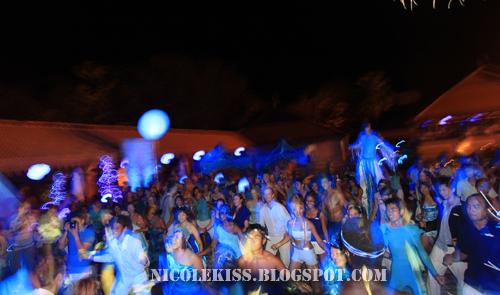 blue theme party crowd