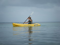 Sharon kayaking at South Water Caye