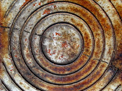 Concentric Rusty Circles (Dialed-in!) Tags: red lines canon grate rust decay circles rusty fromabove powershot cover rusted oxidation cracks lookingdown concentric g9 dialedin thechallengefactory