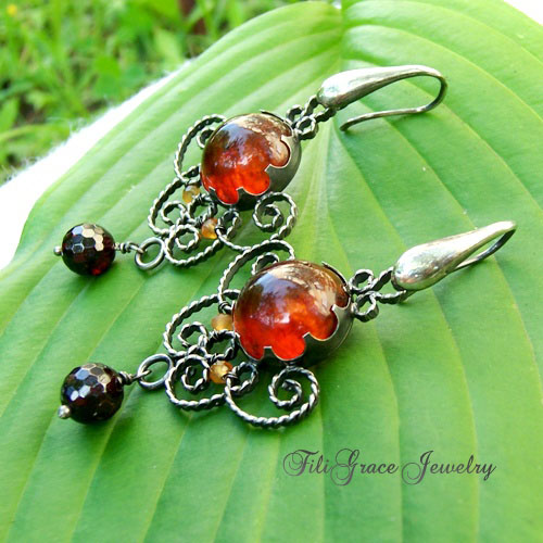 amber and garnet filigree earrings