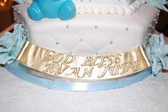 Christening Cake 1 (jen_dsilva) Tags: chocolatecake redvelvetcake chocolatecross vanillacake chocolateteddy goldcross babyboychristeningcake edibleblueroses