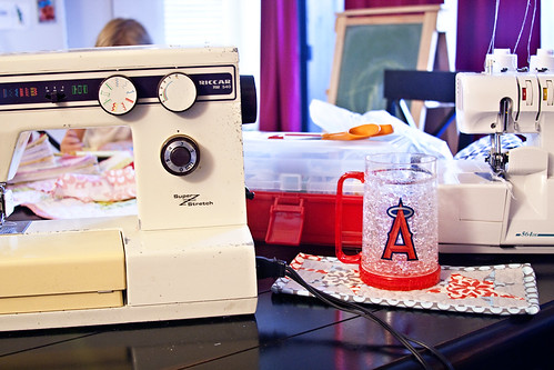 I always need a drink while I sew