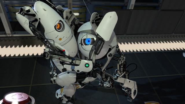 Portal 2 robots cooperativo abrazo