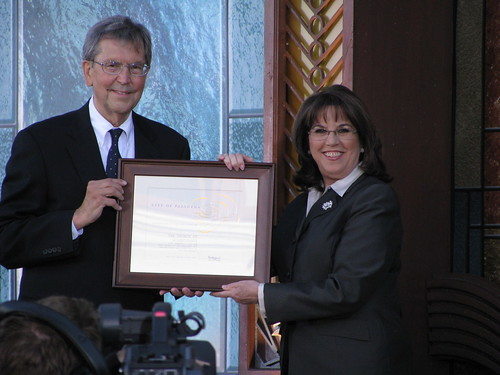 Mayor Bill Bogaard at the opening of the new Church of Scientology in Pasadena CA