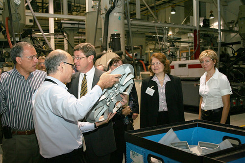 USDA Administrator Judy Canales (second from right) tours the McKechnie Vehicle Components  plant in Nicholasville, Ky. and is shown some of the automotive parts made on site. Administrator Canales toured the plant  with U.S. Rep. Ben Chander , Nicholasville Mayor Russell Meyer, Jeff Ball of Citizens Commerce Bank and Tom Fern, State Director for Rural Development.