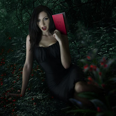 Wildwood Dark (Syl V.) Tags: flowers trees shadow red woman black tree nature beautiful leaves forest book blood woods poem dress vampire trail fangs mystic sylv jayblack trueblood wildwooddark sylviavale sylslays