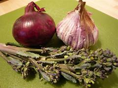 Purple onion, purple garlic, purple broccoli