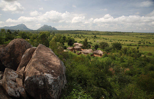 Village nestled in the landscape of central Malawi