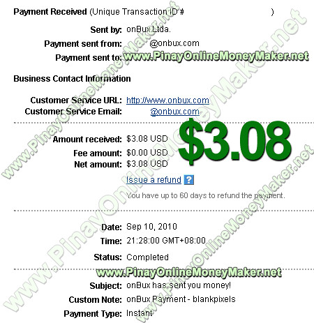 OnBux Instant Payment Proof - $3.08 on September 10, 2010 - PinayOnlineMoneyMaker.net