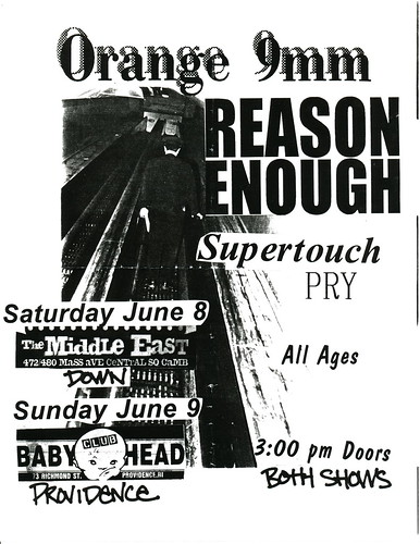 Orange 9mm, Reason Enough - Club Babyhead - Saturday June 8th and Sunday June 9th