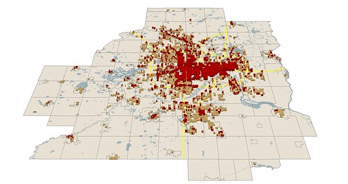 eligible areas with good zoning in red (by: Brendon Slotterback, netdensity)