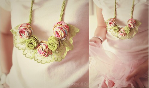 (Our Artful Life)  Rose Fabric Necklace