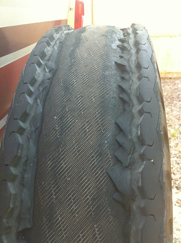 Shredded truck tire!