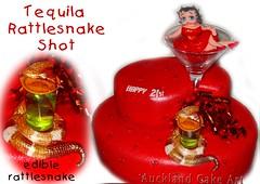 RATTLESNAKE TEQUILA & LIME SHOT BIRTHDAY CAKE (Anita (Auckland Cake Art)) Tags: birthday cake glasses shot tequila lime rattlesnake