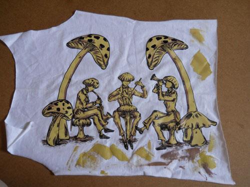Mushroom's Jazz T-shirt Design Original Artwork Color