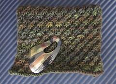 green handspun scarf