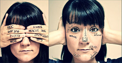 what I hide behind, and what I see... (enjoythelittlethings) Tags: girl face writing self canon words quiet 365 conceptual dyptych fgr justemotions someoneoncesaidfeelingsarentfactsright