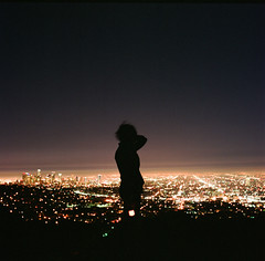 Up On Top Of The World (nathanielperales) Tags: life california city urban man beauty silhouette zeiss losangeles hasselblad experience griffithpark hasselblad500cm ilovefilm elizabethhernandez fujifilmpro800z august2010 thehighestpointinlosangeles
