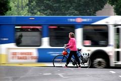 Bike and bus, downtown Portland, Oregon
