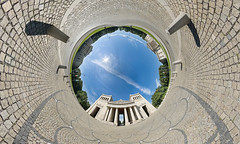 Koenigsplatz, Munich (daitoZen) Tags: city travel blue summer sky panorama cloud sun tourism museum architecture germany advertising munich mnchen greek bayern deutschland bavaria photography europa europe view pentax sommer kunst platz ad perspective wideangle 360 landmark panoramic fisheye journey commercial stadt planet architektur column munchen unusual werbung grad sonne 360x180 muenchen idee bavarian kugel hintergrund squar glyptothek stereographic knigsplatz weitwinkel hugin vacaction sehenswrdigkeit  maxvorstadt fischauge kugelpanorama koenigsplatz propylen littleplanet da1017 antikensammlung weisblau panomaxx 4gi isarathen dreihundertsechzig stadtgetty2010