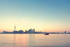 Toronto Setting (Mute*) Tags: city sunset lake toronto ontario water skyline boat cityscape cntower yacht canonef1740mmf4lusm fakedof