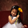 Flower Girl (~ superboo ~ [busy busy]) Tags: wedding light red white flower girl smiling holding chair toddler sitting child dress background explore gerbera daisy puffy lowkey softbox 580ex poof profoto strobist