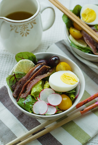 Boiled Egg and Anchovies Salad