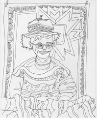 Aunt Dottie knows my Taste in Clothes: 2007.08.01 (Julia L. Kay) Tags: sanfrancisco portrait blackandwhite bw white selfportrait black art face hat pen self paper sketch sweater knitting san francisco artist arte julia kunst autoretrato kay knit daily dessin line peinture clothes portraiture 365 everyday dibujo dpp contour artista artiste knstler contourline juliakay julialkay dailyportraitproject