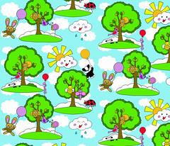 how does your kawaii garden grow? (uzumakijo) Tags: trees sky cute bird animals clouds garden happy design woodpecker squirrel cheery sheep bright dragonfly contest snail insects bee fabric kawaii owl ladybird toadstool colourful lollipop spoonflower