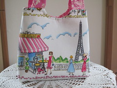 Tote Purse Child Bag Cafe Rouge (antiquebasketlady) Tags: pink paris dogs handmade eiffeltower boutique tote childrensbag antiquebasketlady