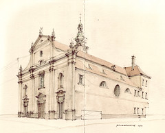 Paulanerkirche (Flaf) Tags: vienna wien colour church water pencil drawing 4 kirche florian barock vienne baroq wiedner hauptstrase favoritenstrase afflerbach