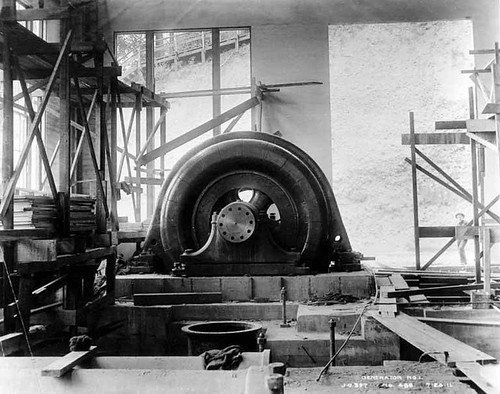 First generator installed at the White River Power Plant, Washington