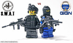 GIGN vs SWAT (Shobrick) Tags: lego scope rifle gear full tiny weapon vs vest custom smg swat m16 tactical gign shobrick
