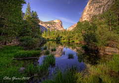 Mirror Lake - Yosemite National Park (Ellen Yeates) Tags: california blue vacation cloud lake reflection tree nature water austin mirror ellen rocks texas tour hiking mirrorlake bluewater tourist yosemite halfdome yosemitenationalpark sly hdr yosemitevalley yeates
