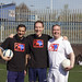Jim Murphy MP, Frank McAveety MSP and Anas Sarwar play football