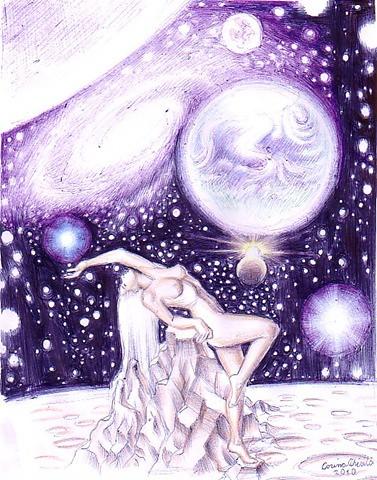 Eva Cosmica desen facut cu pixul