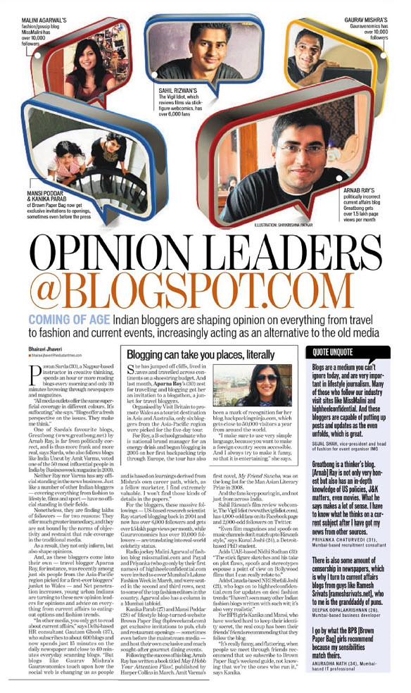 HT Article on Bloggers as Opinion Leaders