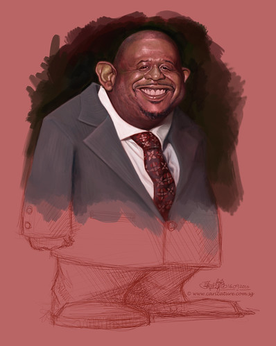 Schoolism Assignment 5 - caricature painting of Forest Whitaker