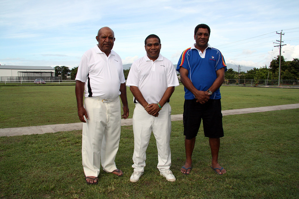 The Papua New Guinea Men's Triples Team in Lawn Bowling for the Commonwealth Games in Delhi